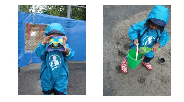 2 pictures of a child in a rainsuit holding binoculars and a child with a pail