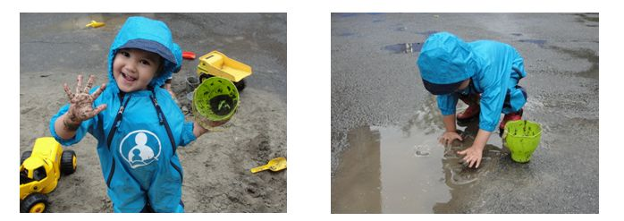 2 pictures of child wearing rainsuit with muddy hands and touching puddle