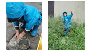 2 pictures of children wearing rainsuits playing outside in sand and grass