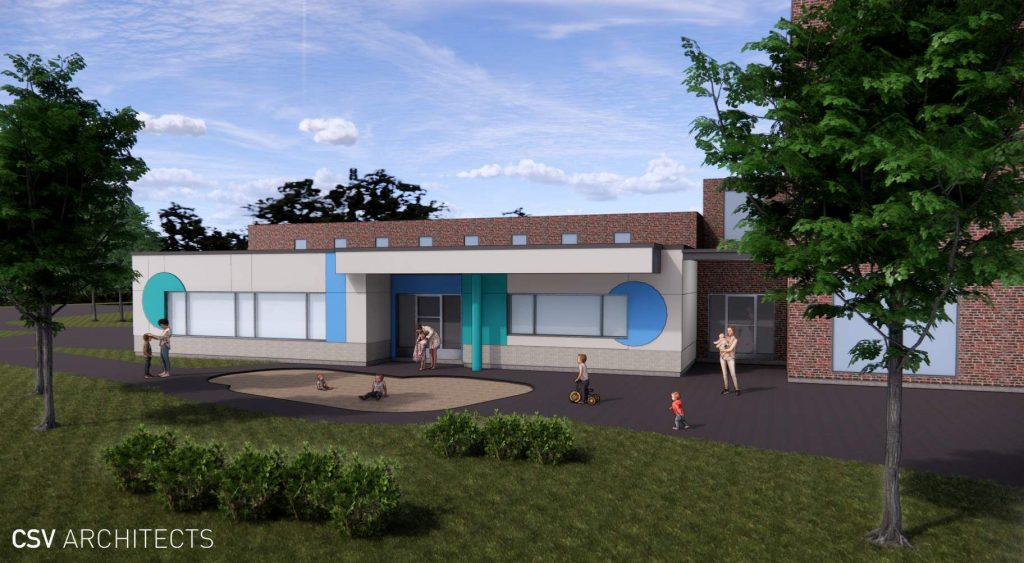 Architect drawing of outside view of toddler room expansion at Youville Centre