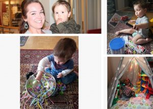Collage of photos of child and young mother, child doing early learning activities