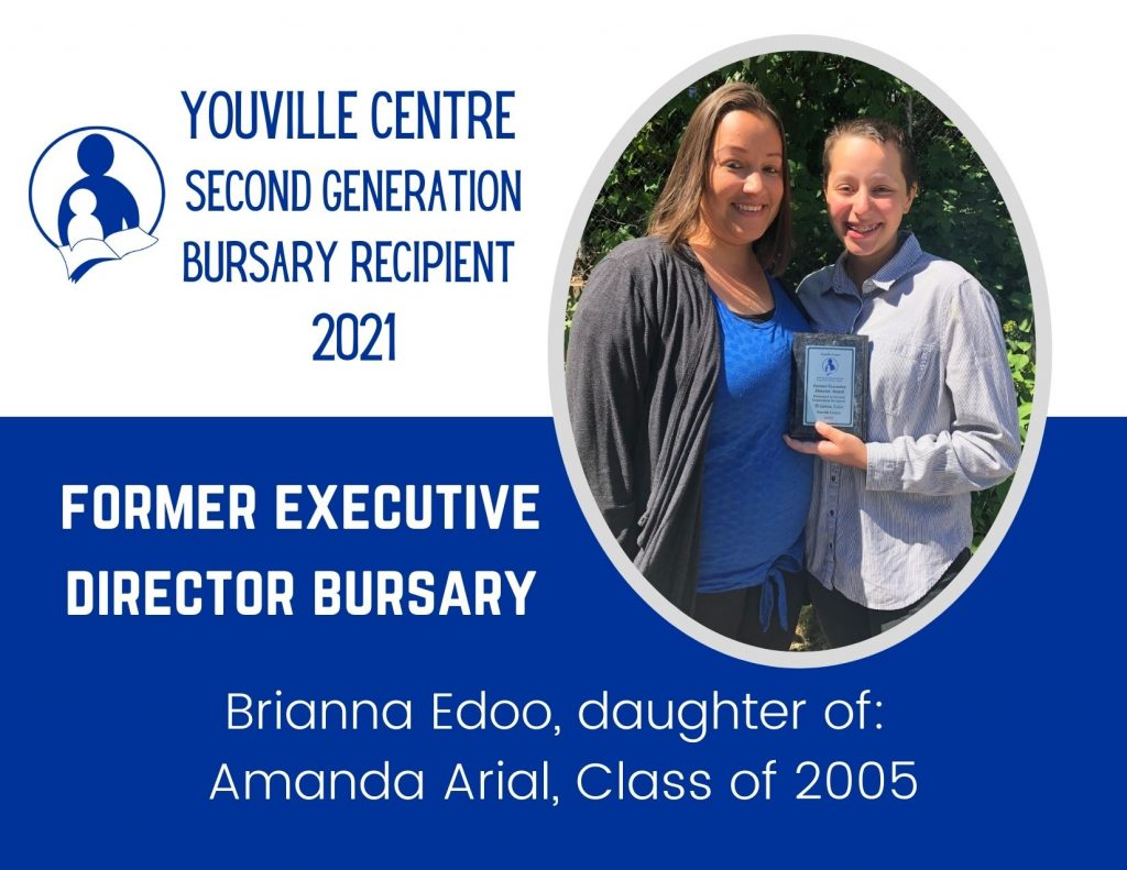 Youville Centre alumnae pictured with her daughter, a recipient of a second generation bursary award