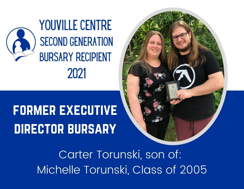 Youville Centre alumnae pictured with her son, a recipient of a second generation bursary award